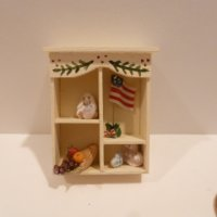 Miniature shelf filled w/minis by Karen Gibbs/Sue Herber
