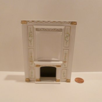 "1/2"" Scale ""Manor Library collection"" FIREPLACE BWT"