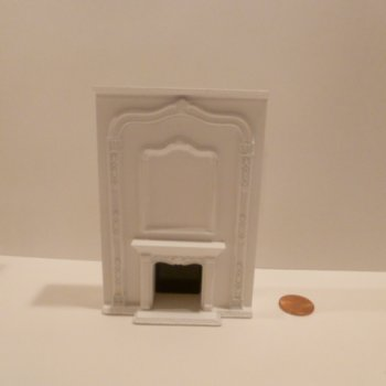 "1/2"" Scale Fireplace w/tall mantel WHITE"